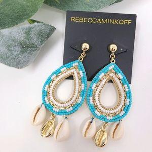 REBECCA MINKOFF Beaded Shell Chandelier Earrings